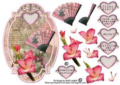 Something girlish on Craftsuprint designed by Bodil Lundahl - This is a mix of vintage things and a beautiful gladiolus stem for a very pink and girlish card.  - Now available for download!