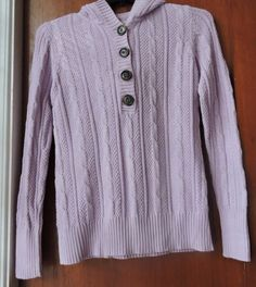 Old Navy Light Purple Women Cable Sweater Hoodie Size M #OldNavy #Hooded
