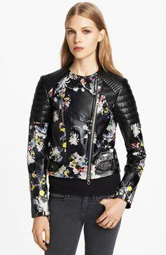 Erdem Garden Print Leather Biker Jacket | Nordstrom