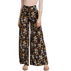 Nicholas Ava Palazzo Pants ($400) ❤ liked on Polyvore featuring pants, black floral, flower print pants, wide leg palazzo trousers, hook and eye pants, wide leg trousers and floral pants