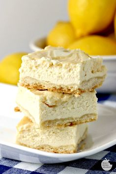 Creamy Lemon Swirl Cheesecake bars are an easy dessert recipe bursting with lemon flavor in an easy to eat bar! Lemon Cheesecake Bars, How To Make Cheesecake, Cheesecake Recipes, Lemon Dessert Recipes, Lemon Recipes, Yummy Treats, Delicious Desserts, Sweet Treats, Biscuits