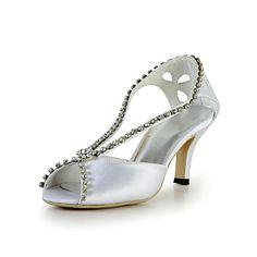 Elegant Satin Stiletto Heel Peep Toe Pumps with Rhinestone Wedding Shoes(More Colors) – USD $ 59.99