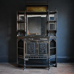 Victorian Interiors, Victorian Homes, Century Cabinets, My Beautiful Friend, Aesthetic Movement, Dream Furniture, Bohemian Interior, Brass Handles, Green Velvet