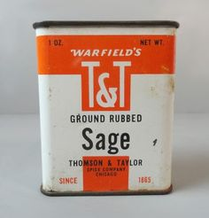 Warfield Ground Rubbed Sage Spice Metal Collectible Advertising Tin   VATC745  ...   For Sale