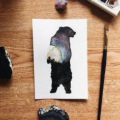 Full Moon Galaxy Bear Silhouette Original Watercolor
