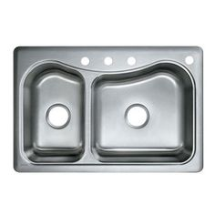 KOHLER Lakefield Self Rimming Cast Iron 33x22x10.25 3 Hole Kitchen Sink In  Black Black DISCONTINUED K 5924 3 7 At The Home Depot | Sinks | Pinterest |  Sinks ...
