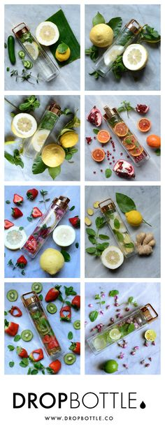 Detox Water creations by @alphafoodie // www.dropbottle.co