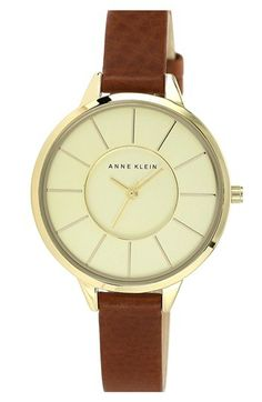 Anne Klein Round Slim Leather Strap Watch, 38mm available at #Nordstrom