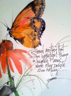 Watercolor of Butterfly's and flowers, garden of beauty 8x10