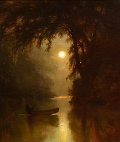 Boating by Moonlight, 1878 by Arthur Parton Classic Paintings, Old Paintings, Beautiful Paintings, Aesthetic Painting, Aesthetic Art, Gustav Klimt, Classical Art, Renaissance Art, Old Art