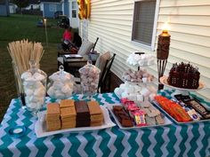 Nice s'mores setup. Note the Peppermint Patties for minty s'mores.