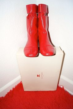 Rare Courreges Cut Out Go Go Boots / Iconic Andre Courreges Red Leather Cut Away Boots in Original Box - Size US 8 EU 38.5 UK 5.5
