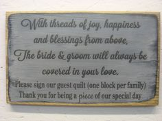Rustic Guestbook Wedding Quilt Sign Creating a by ExpressionsNmore, $19.95