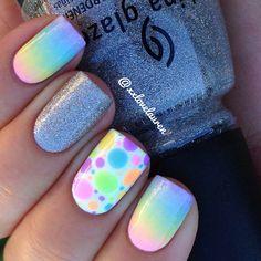 Instagram photo by xxlovelauren   Pastel Gradient + Dots + Silver Glitter #nail #nails #nailart