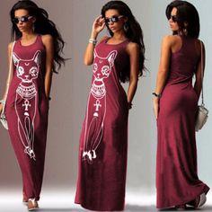 Cat Print Sleeveless Long Tank Dress