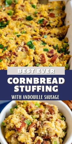 This is the perfect side dish to any Thanksgiving meal! Sweet cornbread, spicy andouille sausage, and crunchy pecans make this my family's favorite stuffing...all year long. Sweet Cornbread, Cornbread Stuffing, Cornbread Recipes, Weeknight Meals, Quick Meals, Dessert Cake Recipes, Desserts, Easy Family Dinners, How To Cook Sausage