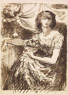 Dante Gabriel Rossetti, sketch 1875