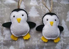 Fieltro decoración de pingüino pingüino ornamentos por Sazparillas
