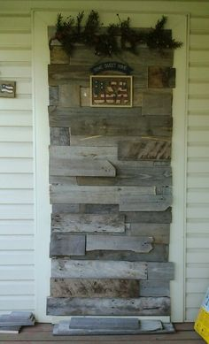 My rustic back drop for the wine bar that I'm building. I needed to close this door off from my porch, and my house had to many doors anyway. Made out of pallets.