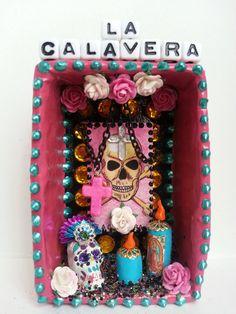 Mexican calavera loteria dia de los muertos shrine.