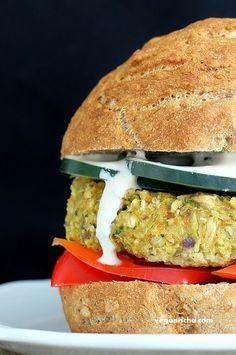 Artichoke Spinach Cauliflower Bean Burgers. Grill-able Vegan Veggie Burger Recipe. - Vegan Richa