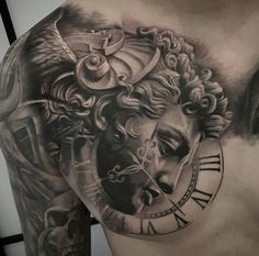29 Things To Expect When Attending Ancient Art Tattoo Delaware Zeus Tattoo, Statue Tattoo, Full Chest Tattoos, Chest Piece Tattoos, Pieces Tattoo, Jesus Chest Tattoo, Stomach Tattoos, Body Art Tattoos, Sleeve Tattoos