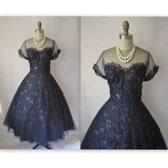 1950's Couture Dress // Vintage 50's Frank Starr Navy Sequin Tulle Lace Cocktail Party Dress M source: http://www.etsy.com/listing/81674616/1950s-couture-dress-vintage-50s-frank?ref=cat2_gallery_15