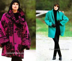 1985 Left: Cilantro by Roberta Frayman Peruvian wool/mohair oversized coat in purple and black. ♥  Right: Cuddlecoat teal 3/4 coat