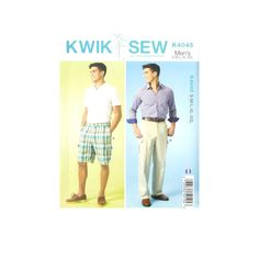 Kwik Sew Mens Shorts and Pants Pattern from @fabricdotcom  Flat-front shorts and pants have waistband, belt loops, side front pockets, back patch, and side pleated cargo pockets, flaps, and front button and mock fly zipper closures.  Sizes range from Men's S-XXL.  <br><a href=https://s3.amazonaws.com/fabric-pdf/0359366-1.jpg>Click here for pattern back.</a>
