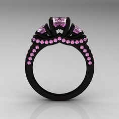 French 14K Black Gold Three Stone Light Pink Sapphire Wedding Ring Engagement Ring R182-14KBGLPS - Front