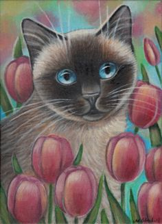 Siamese Cat among Tulips - Painting in Acrylics