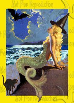 HALLOWEEN FABRIC BLOCKS PHM6 Halloween Mermaid Fantasy Fabric by wwwvintagemermaidcom, $7.00