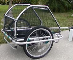 My first Bicycle Cargo Trailer-- note the zip ties! what is the netting does… Utility Trailer, Cargo Trailers, Burley Trailer, Dog Bike Trailer, Motorcycle Trailer, Bike Cart, Velo Cargo, Bicycle Accessories, Tricycle