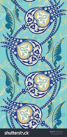 Seamless Turkish porselain and tile pattern