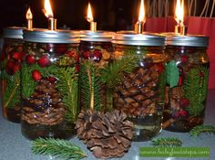DIY Mason Jar Oil Lamp Candle. Fill the jar with pinecones, pine sprigs, cinnamon, cranberries. Add oil lamp, citronella, paraffin. Attach the cotton wick to the top of the jar. Once the wick has soaked in the oil the lamp is ready to be used. From BabyFoodSteps