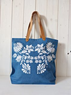 100% cotton screenprinted denim jeans tote bag with genuine leather straps, Hungarian folk pattern, Blue