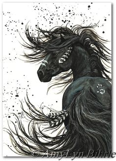 Majestic Mustang Black Stallion Native American Friesian Horse ArT 65-  11x14 Print by AmyLyn Bihrle