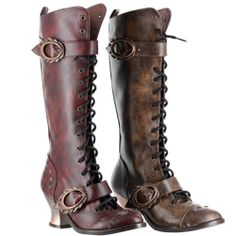 Steam punk boots but without excessive buckles and with a reasonable heel.