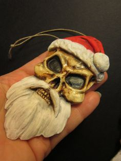 summer SALE Gothic skeleton skull Santa by footstepsinthewind, $9.99
