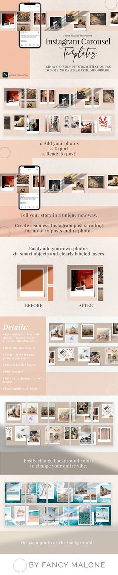 Introducing Copenhagen, a gorgeous carousel template for Instagram! Tell your story in a creative, unique way with seamless scrolling on a professionally designed, realistic mood board! | #instagram #insta #carousel #template #psd #photoshop #social #socialmedia #post #shadow #overlay #handpicked #scrolling #scroll #moodboard