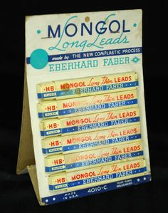 Eberhard Faber Mongol Cardboard 2 Side Display Complastic Process 10 packs Leads #EberhardFaber