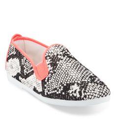 Black & White Snake Baza Slip-On Shoe - Women