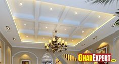 Coffered Ceiling Design with Traditional Chandelier