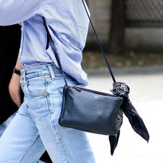 striped button down, blue and white, denim, black leather crossbody bag, black bandanna