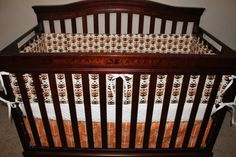 Owls Orange Arrow and White Crib Bedding by DesignsbyChristyS