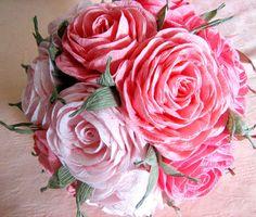 Pink  Coral Crepe Paper Flowers kissing ball Wedding decor baby shower Wedding Table Flower Girl Pomander kissing ball centerpiece baptism