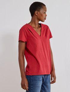 camisa denim mujer kiabi con goma en hombros