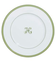 Raynaud - Tropic Green with Monogram Bread & Butter Plate