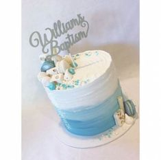 trendy baby shower boy cake buttercream trendige Babyparty-Jungenkuchen-Buttercreme shower ideas for a boy Torta Baby Shower, Baby Shower Cakes For Boys, Baby Boy Cakes, Baby Boy Shower, Baby Shower Drip Cake, Baby Boy Christening Cake, Baby Boy Baptism, Cake For Baptism Boy, Babyshower Cake Boy