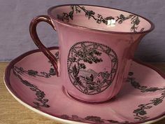 Antique Wedgwood pink tea cup and saucer set, Thomas Beswick line, 1930, English tea cup set, Antique pink china cup and saucer, pink black